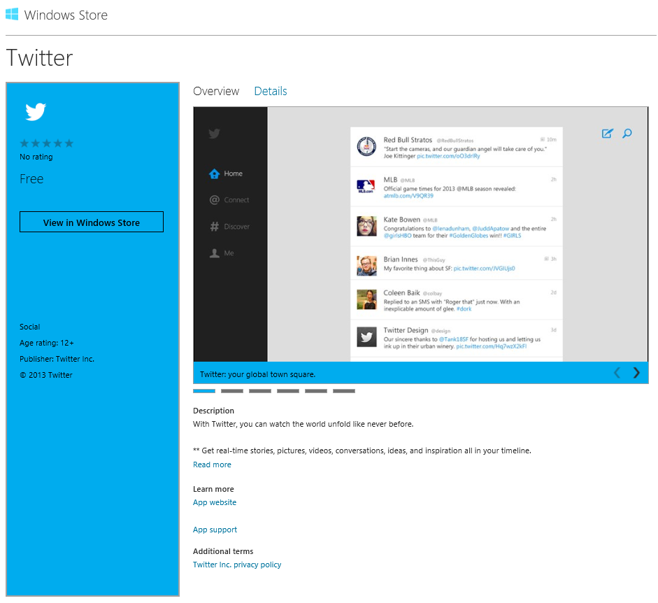 Twitter for Windows 8 available in the store